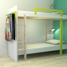 Hoogslaper maken | maak zelf je hoogslaper of stapelbed Diy Furniture Plans, Plywood Furniture, Kid Beds, Bunk Beds, Double Loft Beds, Kids Bedroom, Kids Rooms, Small Living, Diy Design