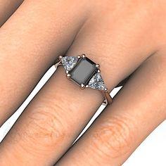 Black Spinel Engagement Ring 3 Stone Vintage Black Spinel Ring