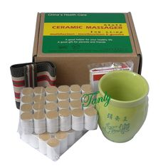 19.32$  Watch here - http://alinl4.shopchina.info/go.php?t=32696332542 - New type multifunction double-deck ceramic massage guasha beauty SPA relief moxa cup +48pcs high quality moxibustion stick  #aliexpressideas