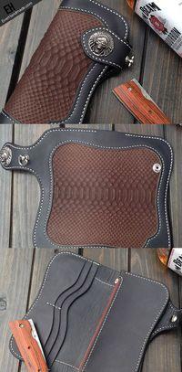 Handmade biker trucker wallet leather chain men boa skin coffee black