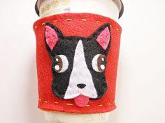 Boston terrier coffee sleeve