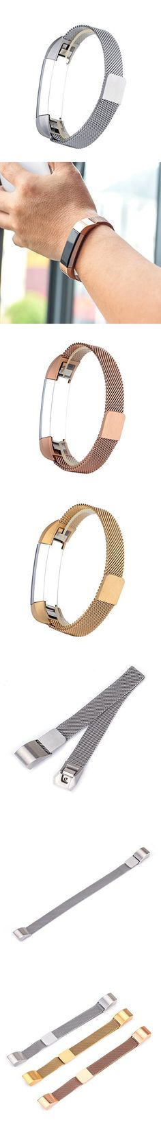 Adjustable 316L Stainless Steel Milanese Magnetic Loop Watchband Replacement Accessory Bracelet Strap fit for Fitbit Alta HR Band Tracker (Silver)