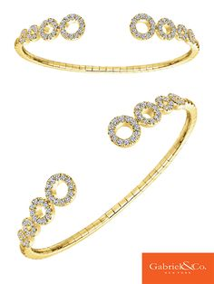 This pretty 14k Yellow Gold Diamond Bangle by Gabriel & Co. The simple circle designs are so perfect with diamonds which makes it sparkle and shine all day long. Pair this along with your Gabriel arm candy for a beautiful everyday wear!