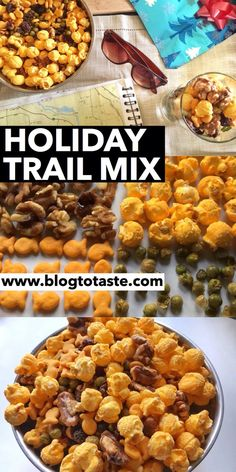 Holiday Trail Mix Recipe:  I also love the combination of crunchy, chewy, nutty, and crispy. The spicy peas add some excitement too!  Read more at www.blogtotaste.com