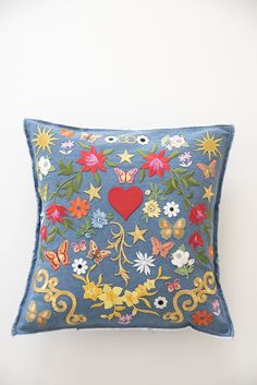 DIY denim patch pillow
