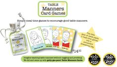 Table Manners Card Game for Kids