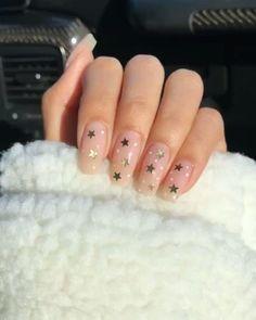 nails with stars / nails with stars . nails with stars design . nails with stars and moon . nails with stars acrylic . nails with stars sparkle . nails with stars on them . nails with stars design acrylic Diy Nail Designs, Simple Nail Designs, Acrylic Nail Designs, Round Nail Designs, Neutral Nail Designs, Neutral Nail Art, Star Nails, Star Nail Art, Best Acrylic Nails