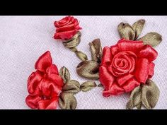 Ribbon Flowers Red Roses Embroidery - Embroidery Patterns