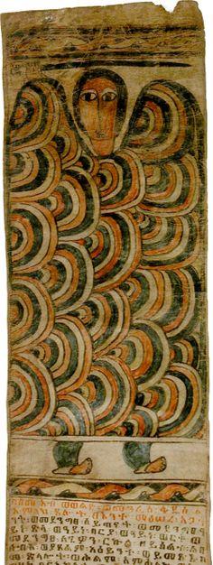 Ethiopia, Seraph from the Magic Scroll of Wälättä-Gabriel, paint/vellum, c. 19th c.