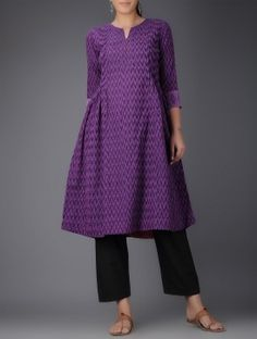 Purple Ikat Handwoven Cotton Kurta with Embroidered Sleeves