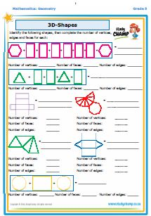 Mathematics : Geometry: 3D Shapes Worksheet