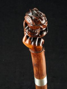 """A Rose in the Hand"" handle walking cane English date circa: 1870"