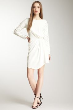 tibi Rhinestone Beaded Silk Draped Dress on HauteLook