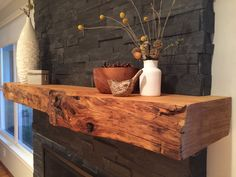 live edge wood mantle piece More - Fireplace Today Wood Mantle Fireplace, Wood Mantels, Rustic Fireplaces, Home Fireplace, Fireplace Remodel, Fireplace Surrounds, Fireplace Design, Rustic Mantle, Reclaimed Wood Mantle