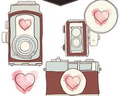 Hand-drawn digital graphics of vintage camera love. THREE unique cameras drawn with a watercolor heart. Also includes a separate heart to show even Vintage Fur, Vintage Pink, Vintage Antiques, Vintage Logos, Camera Clip Art, Camera Drawing, Sketch Note, Devine Design, Camera Logo