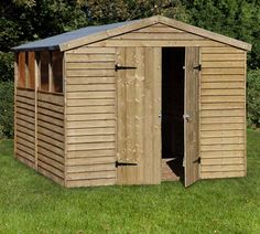 10x8 pressure treated overlap workshop, now yours for only £353.22! Useful double door access and FOUR interchangeable windows, which allows you to position the windows to suit your garden. As well as these great features, your provided with plenty of internal space due to it's 10x8 build.