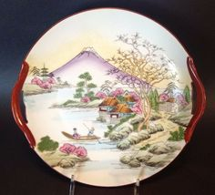 Japanese Cake Plate With Red Handles Hand Painted Mt Fuji And Boat Scene Porcelain Insulator, Vintage Cake Plates, Japanese Cake, Dessert Aux Fruits, Hand Painted Cakes, Fine Porcelain, Scene, Beautiful, Antiques
