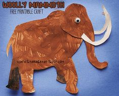Woolly Mammoth Printable Craft | http://LearnCreateLove.com