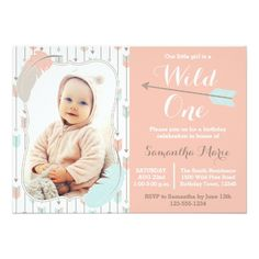 Girl's 1st Birthday Party Invitations Wild One Tribal Girl First Birthday Pink Photo Card