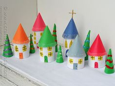 Cardboard Tube Christmas Village by @amandaformaro Crafts by Amanda