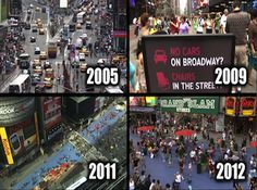 """""""The Metamorphosis of NYC Streets"""" is a wordless video chronicling the recent emergence of complete streets and pedestrian plazas in Times Square, Herald Square, the Brooklyn waterfront, and other parts of the city. Click through image to watch the 5-minute montage of before-and-after footage, and visit the slowottawa.ca boards >> http://www.pinterest.com/slowottawa/boards/"""