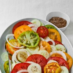 Tomato, Cucumber and Sweet Onion Salad with Cumin Salt by Food & Wine