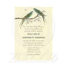 Teal Vintage Bird Wedding Invitations | Zazzle.co.uk