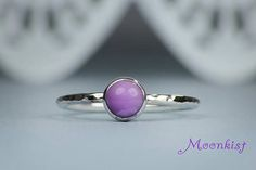 """Purple Gemstone Ring - Sterling Silver Stacking RIng - Unique Phosposiderite ring. Phosphosiderite is believed by some to be an excellent healing stone, so it's often called the """"Stone of Healing and Hope"""". It is used to assist with finding balance and stability, which can help one in everyday life as well as in healing. Repin this timeless ring to your own inspiration board!"""