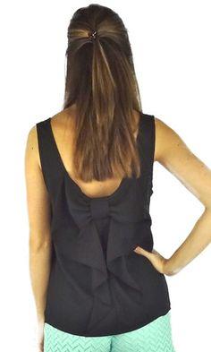 Sleeveless Bow Back Blouse - Black
