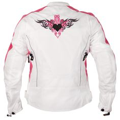 Xelement Womens Reflective Tribal Heart White/Pink Tri-Tex Armored Motorcycle Jacket