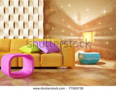 stock photo : modern interior room with nice furniture inside