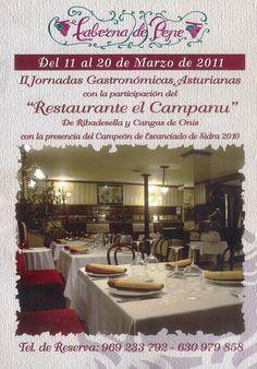 """""""II Jornadas Gastronómicas Asturianas"""" en la Taberna de Pepe Cuenca Marzo de 2011 con la participación del """"Restaurante el Campanu"""" #Cuenca #Cocina"""