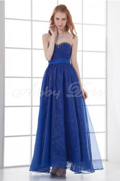 A-line Sweetheart Backless Beaded Ankle-length Organza Dress- Abbydress.com