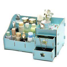 DIY Cosmetic Make Up Organizer Wooden Drawer Storage Box Shelf Jewelry Box Stationery Storage Boxes Sundries Organizador Box Wooden Storage Boxes, Wooden Drawers, Drawer Storage, Desk Organization Diy, Diy Desk, Jewellery Storage, Jewellery Display, Jewelry Box, Nail Polish Jewelry