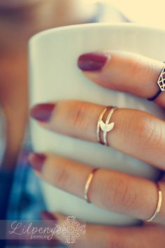 stacking midi rings  like the moon