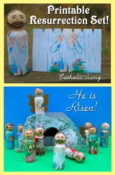 Check out this printable Resurrection Set! All you have to do is paint the heads, and the bodies Mod Podge right on. What a great hands-on way to teach the true Easter story for kids! Best Easter craft ever!