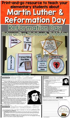Teach your students about Martin Luther and the Protestant Reformation with this print-and-go resource that includes reading comprehension passages and questions, interactive notebook pieces, and writing prompts. Full student directions and answer keys are included.