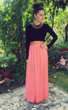 Zara maxi long skirt peach Size S or M 60€
