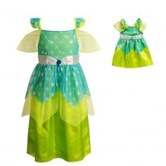 """""""Green Forest Fairy"""" Princess Dress-Up Costume Set with Matching Outfit for 18-inch Play Dolls. This Green Forest Fairy costume will transport her into the magical world of imaginative play, where she can frolic through the woods with the other sprites, tending to the flowers, plants, and animals."""