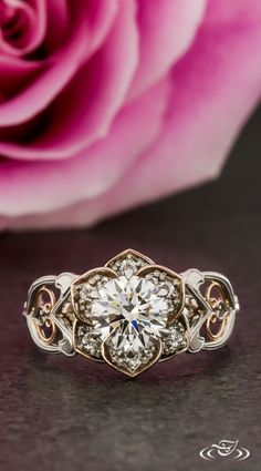 Two Tone Rose Halo Engagement Ring with Heart Filigree. Green Lake Jewelry 124224