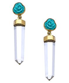 Kesha Rose by Charles Albert Gold Blue Rose and Clear Quartz Point Earrings #maxandchloe