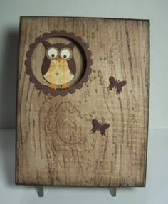 punched owl card...luv how the inking looks on the embossing folder tree texture and tghe papers used for the owl...