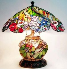 A Tiffany table #lamp ; the design is floral and it's beautiful.