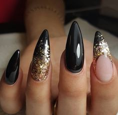 # Black W/ Glittering Gold Nail Art