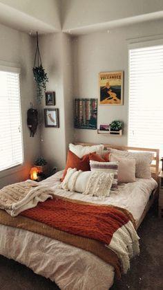 Room Goals, Ikea Bedroom Design, Bedroom Ideas, Cozy Bedroom, Bedroom Inspo, Bedroom Decor, Roomspiration, Orange Room Decor, Grey Orange Bedroom