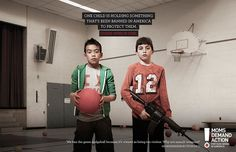 Moms Demand Action for Gun Sense in America, a collective of mothers calling for  gun law reform, was behind this hard-hitting ad campaign, which focused on children in schools.  'Choose One' features children carrying weapons, alongside classmates holding either a Kinder Surprise egg, the book 'Little Red Riding Hood' and a ball from the schoolyard game Dodgeball. One child is holding something that's been banned in America to protect them, with the audience asked to guess which one.