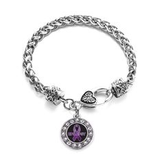 Show your support and spread awareness for Epilepsy with this stylish charm bracelet! This sparkling piece features a 7 1/2 inch braided bracelet complimented with a decorative lobster claw clasp topp