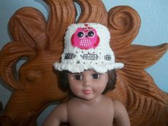 American 18 Inch Doll Hat clothes crochet white yarn hat with red and pink owl by sue18inchdollclothes on Etsy