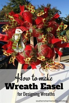 Make wreaths easier with a DIY wreath easel. Save money and make your own wreath easel with this tutorial. Popsicle Stick Crafts, Craft Stick Crafts, Paper Crafts, Toddler Crafts, Diy Crafts For Kids, Easy Crafts, Make Your Own Wreath, How To Make Wreaths, Holiday Wreaths