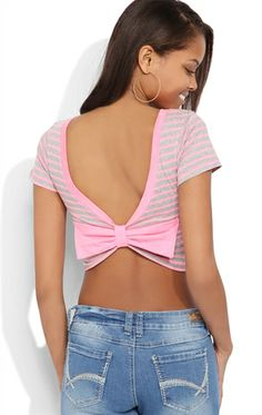 Deb Shops #Striped Crop Top with #Bow Back $9